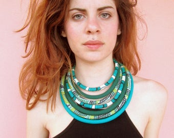 Green Layered Necklace - African Print necklace- Bib Statement Necklace - Special Gift For Her