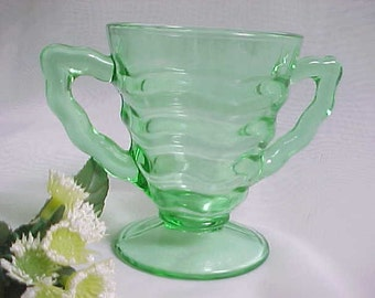 1930s Green Ocean Wave Open Sugar by Jenkins, Depression Glass Pattern # 190 Ripple Design Sugar Bowl, Collectible Old Kitchen Glassware