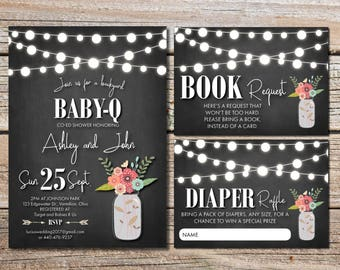 BabyQ Baby Shower BBQ invitation couples boy