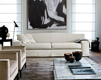 Abstract Painting, Contemporary Art, Hand Made art, extra large wall art, large wall decor, extra large canvas art, Black and white painting