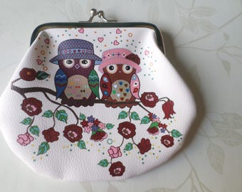 x 1 White Leather OWL purse multicolor claps metal clasp silver 13 x 14.5 cm