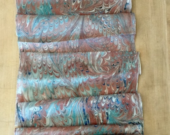 Beige Blue Combed Swirl Patterned Habotai Silk 14x72""