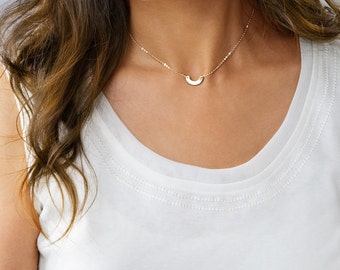 Half Circle necklace, Dainty Arc Necklace, Dainty Half Circle Necklace, Curved Necklace, Sterling Silver, Gold, Rose Gold ZN00281