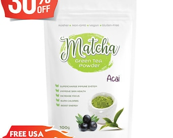 Japanese Brazilian Acai Matcha (100g) Rich in Antioxidants, Supports Weight Loss & Boosts Energy- Natural Flavor, No Sugar-FREE USA Shipping