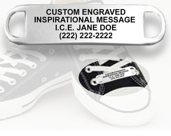 Safety Shoe ID Tag with Personalized Engraving Message for Runners, Cyclists, Athletes, Travelers, and Kid