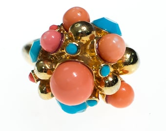 Vintage Coral and Turquoise Bead Statement Ring