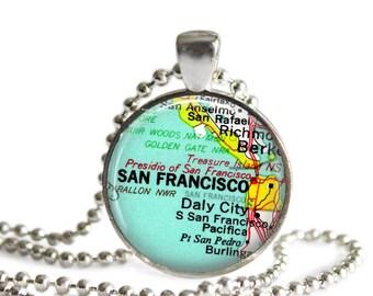 Gifts for Sister, San Francisco map pendant, California charm necklace, photo pendant, custom san francisco, girl gift, bachelorette gift