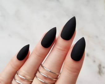 Classic matte black press on nails - Any shape - Nail glue or nail tabs - Coffin Stiletto Almond Oval Round - Long Medium Short