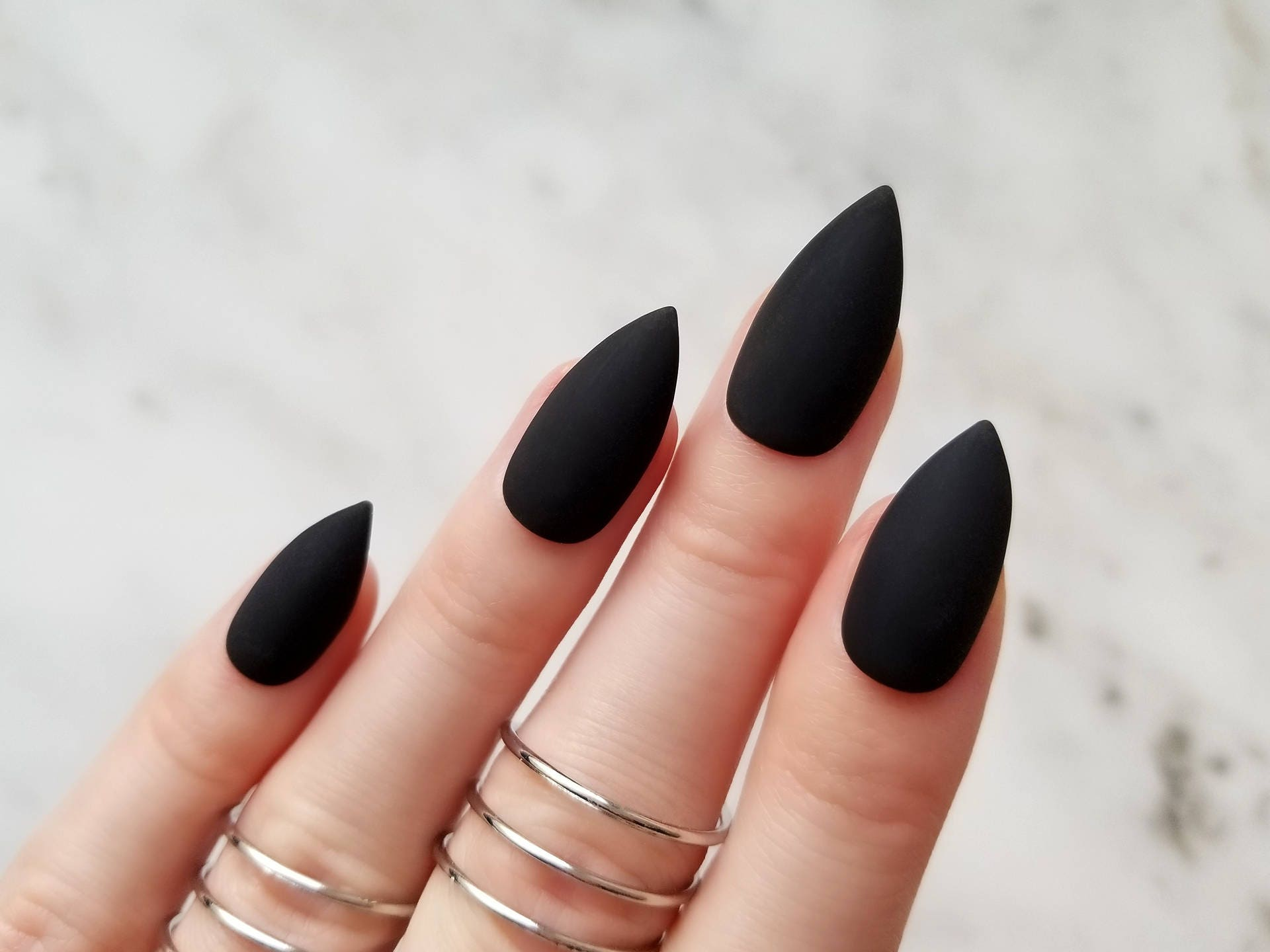 Classic matte black press on nails Any shape Nail glue or