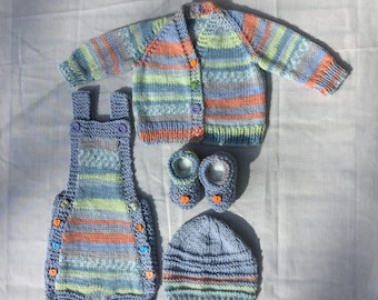 Newborn Hand knitted baby 4pc Set, Baby shower, 0-3 Month Baby boy Coming home outfit, Romper, Boots, Hat, Cardigan, Summer, Spring