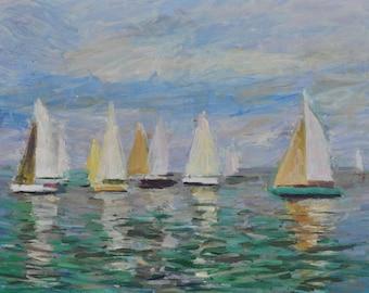 The Sails, Oil Painting, Landscape Painting, Seascape, Original, Canvas, Impressionism, Sea, Boats, Marine