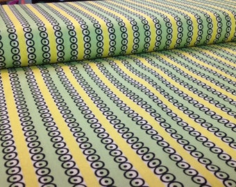 Denyse Schmidt - STONINGTON - Dot Stripe - TWIST Yellow Green Cotton Fabric, sold by the 1/2 yard, Item # PWDS121.TWIST Quilting Free Spirit