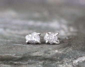 1 Carat Raw Diamond Earrings -  Sterling Silver Stud - Rustic Earring - April Birthstone - Rough Diamond Gemstone Earring - Made in Canada