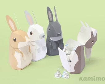 Easter Bunny Rabbit, Favor boxes, Gift boxes, Spring Celebrations, Printable Paper Craft PDF, Paper Craft Template, Natural Colors