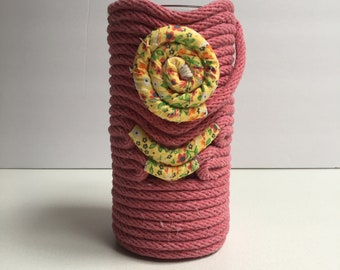 Raspberry 1/4 inch Cotton Rope Vase