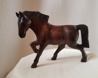 Vintage Ironwood Horse Stallion Sculpture Figurine Wood Carving Statue