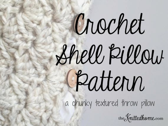 Instant download pattern for chunky crochet shell stitch pillow instant download pattern for chunky crochet shell stitch pillow toss throw accent scallop granny square pouch no seams button closure from knittedhome on fandeluxe Gallery