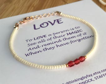 Love MINIMAL Seed Bead Friendship Bracelet, Seed Bead Jewellery, Minimal Bracelet, UK seller