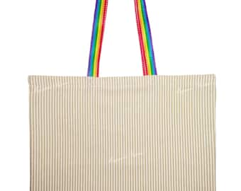 Bag Shopper lines Beige Rainbow Shopping bag modern cotton washable ecological sustainable reusable Eco Shopper Canvas Tote Bag