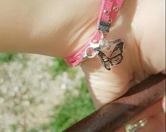 Bracelet double studded salmon leather, butterfly pendant