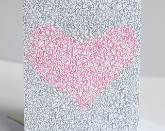 Valentine's Day Card - Single Card - Illustrated Hearts