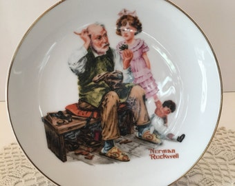 Norman Rockwell Collectible Decorative Plate ~ The Cobbler ~ 1984 ~ The Norman Rockwell Museum Inc ~ Wall or Cabinet  Plate ~ Vintage