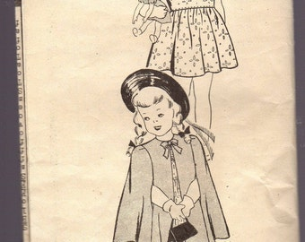 9345 Vintage Sewing Pattern for Little Girl  Dress and Cape