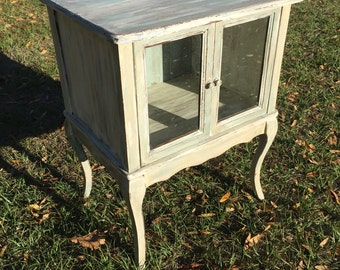 Vintage  curio  table, french decor, side table, furniture , glass doors, shabby chic  decor,