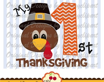 My 1st Thanksgiving svg dxf,Pilgrim Hat Turkey boy SVG DXF Silhouette & Cricut Cut Files DGTH30 -Personal and Commercial Use