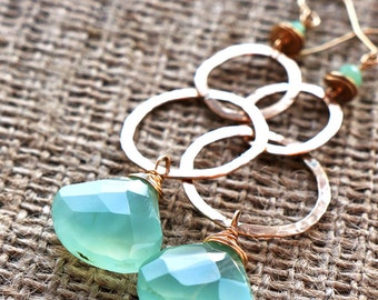 l a g o o n ...  hand forged and hammered 14K gold fill, peruvian opal and large faceted aqua chalcedony earrings