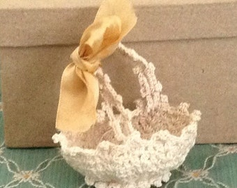 Very Unique Crocheted Doll Basket