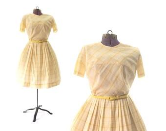 1950s Dress yellow Vintage Dress, 50s Dress yellow Dress, 1960s Dress, 60s Dress, plaid Dress, Print Dress, Summer Dress,  Vintage Clothing