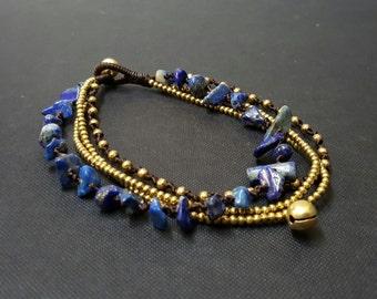 Lapis  Brass Chain Anklet