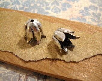 Tulip Bead Caps in Antique Silver by Nunn Design - 2 Count