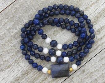 Intuition and Conviction Mala / Necklace / Wrap Bracelet / Boho / Bohemian / LAPIS LAZULI, Blue JASPER