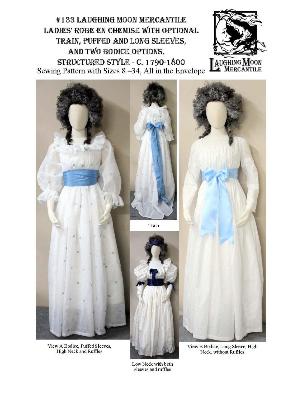 LM133 1790-1800 Damen Robe de Chemise-Schnittmuster von