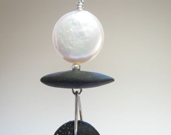 """NEW WORK! """"Full Moon"""" Pearl and Pebble Necklace"""