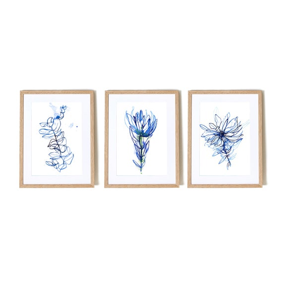 Blue Botanical Watercolour  Set of 3 Wall Art prints hand drawn illustration