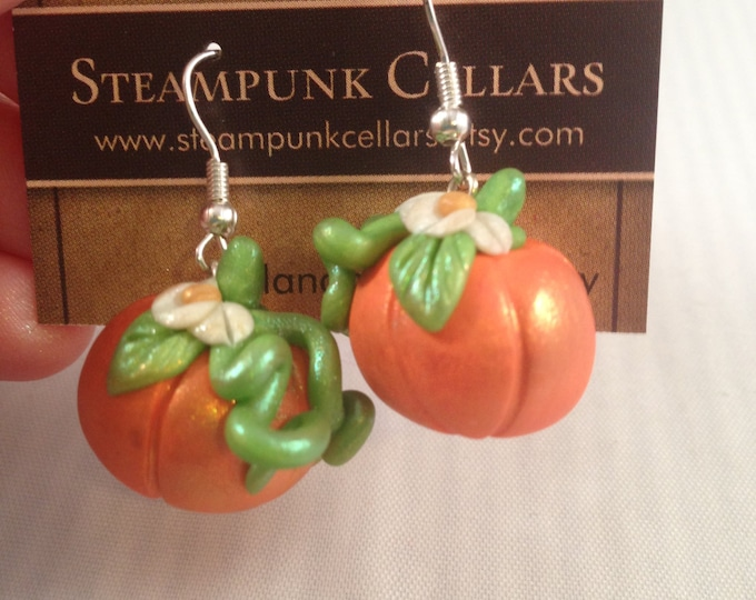 Polymer Clay Autumn Harvest Pumpkin Earrings orange