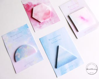 watercolor geometric sticky notes
