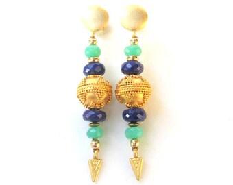 Lapis, Chrysoprase & Gold Vermeil Earrings HANDMADE Natural Gemstone Jewelry