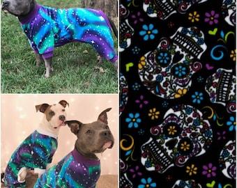 Sugar Skulls Dog Pajamas, Fleece Dog Pajamas, Dog PJs, Dog Jammies, Dog Pyjamas, Dog Clothes, Dog Clothing, Large Dog Clothes