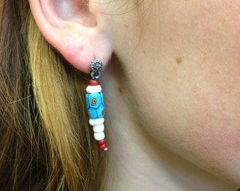 African trade bead (millefiore) earrings