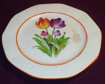 Vintage Tulip Desert Plate Made in Czecheslovakia