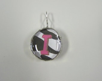 Initial Jewelry Pendant Soldered Glass Blob with Initial I