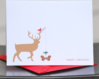 Christmas Cards, Deer Christmas Cards, Cardinals, Holiday Cards, Christmas Card Set, Deer, Holiday Card Set, Squirrels, Mistletoe, Reindeer