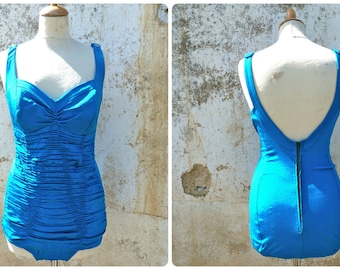 Vintage 1950/50s wrapped turquoise blue COLE of California pin up swimsuit / swimwear size S