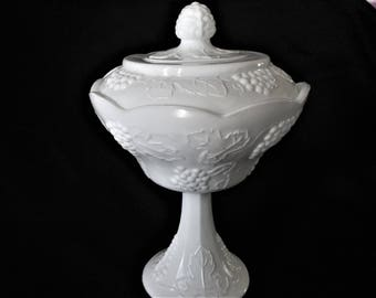Classic Vintage Milk Glass Footed Compote Indiana Glass