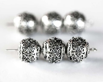 1750 Metal beads 11x10 mm Round silver beads Spacer beads Flower pattern beads Round spacer beads Beads for jewelry Metal beads 10 pcs