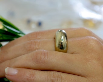 Gold Statement Ring, Gold Dome Ring, Elegant Ring, Statement Ring, Chunky Ring, Urban Chic Ring, Crystal Stone Ring, Unique Jewelry, Gift